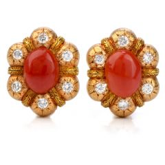 Feriozzi Vintage Red coral 18k textured gold clip on earrings
