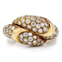 PICCHIOTTI  Cluster Diamond By Pass Snake Heads 18K Gold Ring