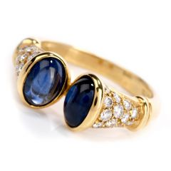 Tiffany & Co. Vintage Cabochon Sapphire Diamond 18K Gold Ring
