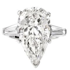 Estate GIA 6.48ct E-VVS2 Pear Diamond Platinum 3 Stone Engagement Ring