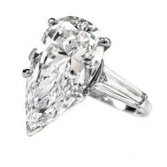 Estate GIA 6.48ct E-VVS2 Pear Diamond Platinum 3 Stone Engagement Ring