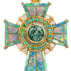 Estate Designer Diamond, Opal, Savorite and Kunzite Large 18K Cross Pendant