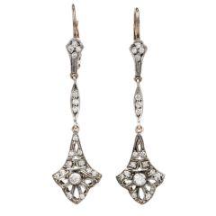 Vintage Art Deco Fleur De Lis Diamond Platinum Dangle Earrings
