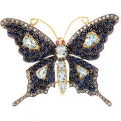 Antique Aquamarine, Diamond and Sapphire Large Butterfly 18K Brooch Pin
