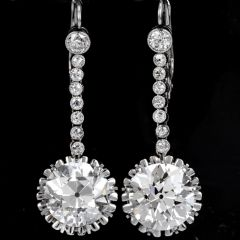 Antique 13.59 Carat European Cut Diamond Platinum Dangling Earrings