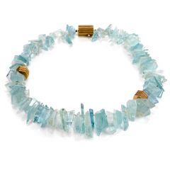 CHRISTOPHER WALLING Mirror Cut Natural Aquamarine 18k Gold Necklace