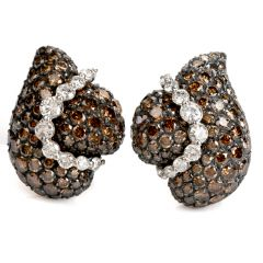 GIOIA  Estate 12.49cts  Golden Brown White diamond 18k Gold swirl  Clip-on earrings