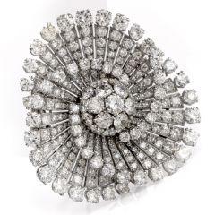 Antique Deco 20.98 Carats Diamond Circular Fan Brooch Pin