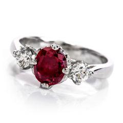 Tacori Diamond 3 Stone Engagement Ruby Platinum Ring