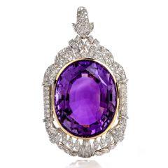 Vinatge Large Amethyst Diamond 18k Gold pendant