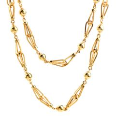 Vintage Retro 18K Gold Long Necklace Chain Necklace
