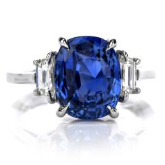 No Heat Natural Burma AGL Certified Large Blue Cushion Cut Sapphire & Diamond Platinum Ring