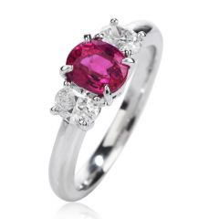 Certified GIA Burma Ruby Diamond Platinum Three Stone Engagement Ring