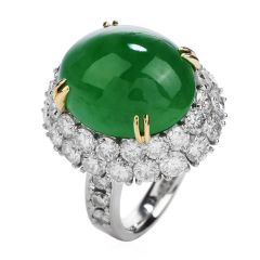 GIA 17.15ct Green Jade Diamond Platinum 18K Gold Halo Oval Cocktail Ring