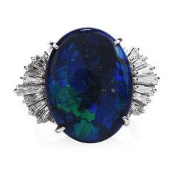 Estate GIA Certified Black Opal Diamond Platinum Cocktail Ring