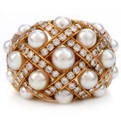 Chanel Diamond Pearl 18K Gold Perles Matelassé Cluster Cocktail Ring