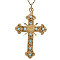 Antique Turquoise 22K Gold Unique Fleur de Lis Large Cross Pendant