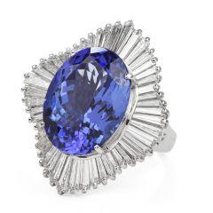Estate GIA Tanzanite 12.16ct Diamond Platinum Ballerina Cocktail Ring