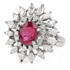 Estate GIA Ruby 3.65ct Diamond Platinum Floral Cocktail Ring