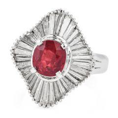 Estate GIA Ruby 3.91ct Diamond Platinum Elegant Ballerina Ring