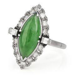 Vintage GIA Apple Green Jade 2.80ct Diamond Platinum Ring