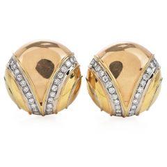 Italian 18k Circular Button 18k Gold Clip Earrings By Dario