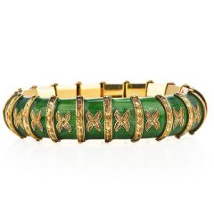 Vintage Snake Green Paillonne Enamel 18k Gold Bracelet