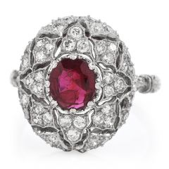 Vintage Buccellati Italy Ruby Diamond Platinum Starburst Engagement Ring
