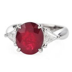 Estate GIA 4.09cts Ruby Diamond Platinum Three Stone cocktail Ring
