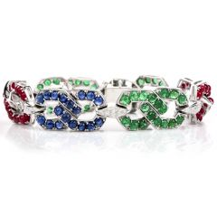"Estate Diamond Sapphire Emerald & Ruby 14K Gold 7"" Chain Bracelet"