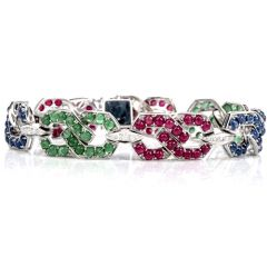 Estate Diamond Sapphire Emerald & Ruby 18K Gold link Bracelet