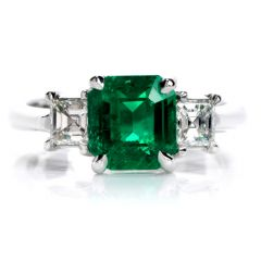 Estate Colombian Emerald Asscher Cut Diamond Platinum Three-Stone Ring