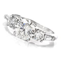 Classic 2.11Round & Baguette Diamond Platinum Engagement Ring