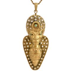 Hammerman Brothers Egyptian Inspired Yellow Gold Diamond Emerald Sculptured  Brooch  and Pendant