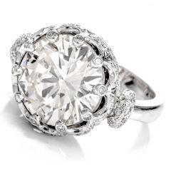 Estate 7.72 Carat Diamond Crown 18K Cocktail Engagement Ring