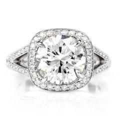 GIA 3.89cts Round Diamond  G-VVS2  Platinum Diamond Engagment Ring