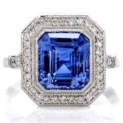 GIA Certified No Heat Ceylon Blue Sapphire Step Cut & Diamond Halo Platinum Ring