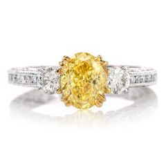 GIA Fancy  Vivid Yellow Internally Flawless Diamond Platinum 3 Stone Tacori Engagement Ring