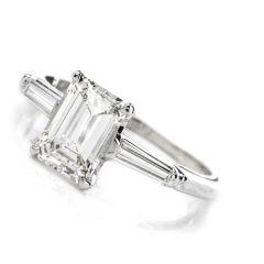 Classic 3 Stone Emerald Cut Diamond Platinum Engagement Ring