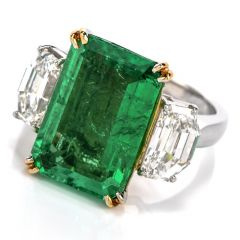 GIA Emerald Diamond 3 Stone Platinum Engagement Cocktail Ring