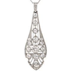 Antique Art Deco Long Diamond Platinum Pendant