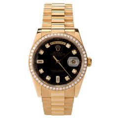 Rolex 36mm Gents President Day Date 18K Yellow Gold Diamond Dial and Bezel Ref 118348