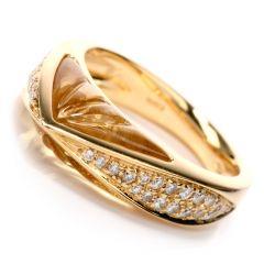 Designer IO SI Diamond Carved Quartz 18K Gold Fancy Italian Ring