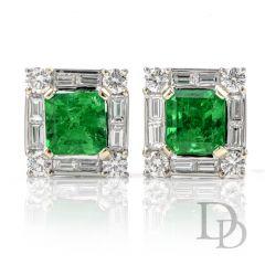 Estate Diamond GIA Colombian Asscher Emerald Stud 18k Gold Earrings