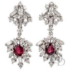 Estate  Diamond GIA Madagascan Ruby Platinum Dangle Earrings
