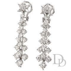 Vintage Diamond Platinum Floral Dangling Drop Earrings