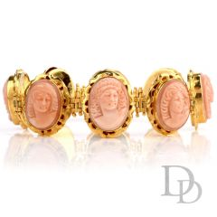 Vintage Carved Coral Cameo 18K Gold Link Bracelet