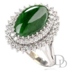 Estate Diamond Green Jade 14K Halo Cocktail Ring