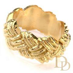 Vintage Nuovi Gioielli Italian Wide 18K Criss Cross Bangle Bracelet