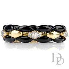 Estate Diamond Black Onyx Panther Link 18K Bracelet